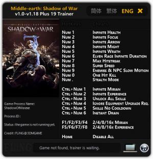 Middle-earth: Shadow of War Trainer +19 v1.0 - 1.18 {FLiNG}