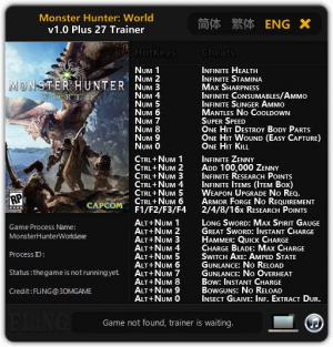 Monster Hunter: World Trainer for PC game version v1.0