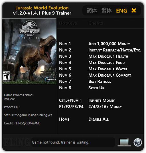 jurassic world evolution trainer 9 v141 fling
