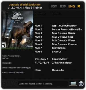 Jurassic World Evolution Trainer for PC game version v1.4.1