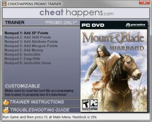 Mount and Blade: Warband Trainer for PC game version v1.174