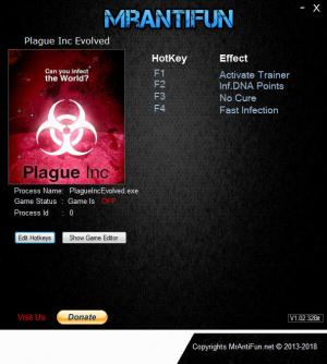 Plague Inc. Evolved Trainer for PC game version v1.16.3