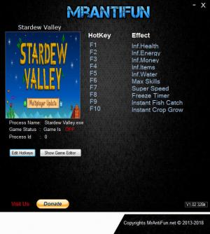Stardew Valley Trainer for PC game version v1.3.32