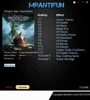 Dragon Age: Inquisition Trainer for PC game version v11.03.2019