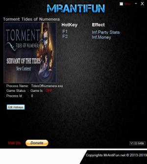 Torment: Tides of Numenera Trainer for PC game version v1.1.0