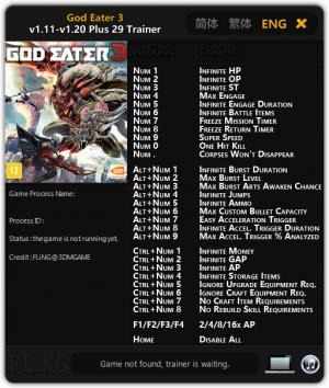 God Eater 3 Trainer for PC game version v1.20