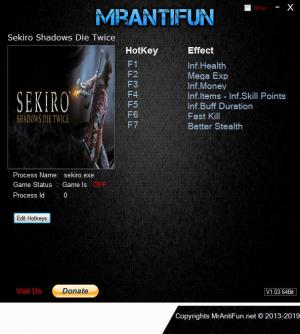 Sekiro: Shadows Die Twice Trainer for PC game version v1.00