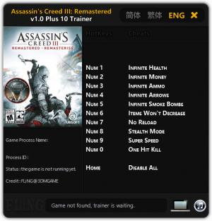 Assassin's Creed 3 Remastered Trainer for PC game version v1.0