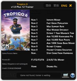 Tropico 6 Trainer for PC game version  v1.0