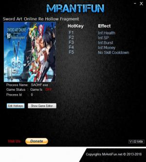 Sword Art Online: Hollow Fragment Trainer for PC game version v1.00