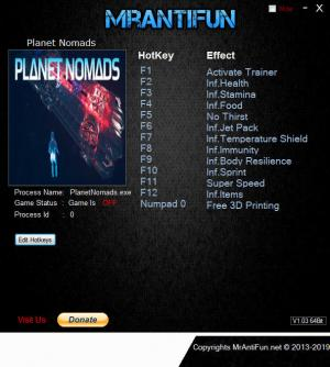 Planet Nomads Trainer for PC game version v1.00