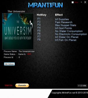 The Universim Trainer for PC game version v0.0.33.24604