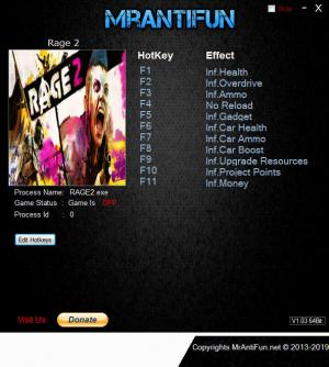 RAGE 2 Trainer for PC game version v1.00