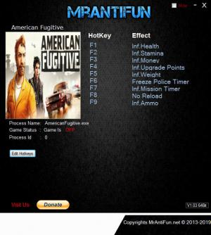 American Fugitive Trainer for PC game version v1.0.17326