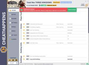 Total War: THREE KINGDOMS Trainer for PC game version v1.0.0 Build 9292