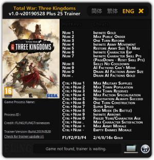 Total War: THREE KINGDOMS Trainer for PC game version v28.05.2019