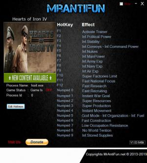 Hearts of Iron 4 Trainer for PC game version v1.7.0