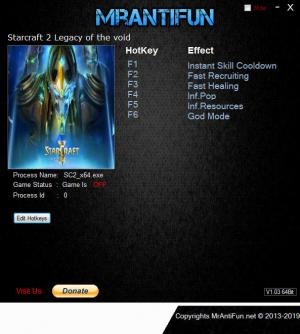 StarCraft 2: Legacy of the Void Trainer for PC game version v4.9.1.74456 64Bit