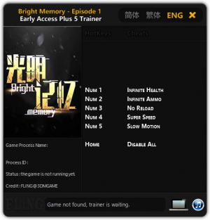 Bright Memory Trainer for PC game version v15.06.2019 Early Access
