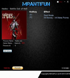 Hades - Battle Out of Hell Trainer for PC game version v0.18357
