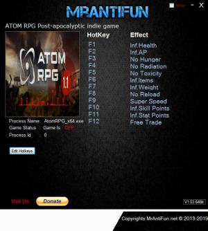 ATOM RPG: Post-apocalyptic indie game Trainer for PC game version v1.105