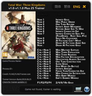 Total War: THREE KINGDOMS Trainer for PC game version v25.06.2019