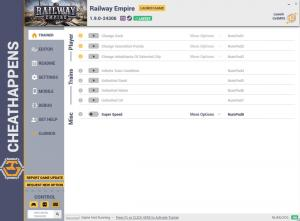 Railway Empire Trainer for PC game version v1.9.0-24306