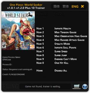 ONE PIECE World Seeker Trainer for PC game version v1.2.0