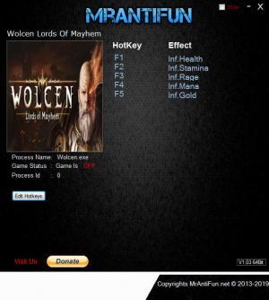 Wolcen: Lords of Mayhem Trainer for PC game version v1.1.4.0