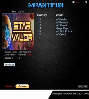 Star Valor Trainer for PC game version v1.1.7e