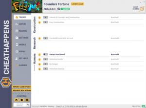 Founders Fortune Trainer for PC game version v8.0.4