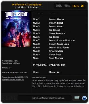 Wolfenstein: Youngblood Trainer for PC game version v1.0