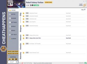 Rebel Galaxy Outlaw Trainer +21 v1.14 (Cheat Happens)