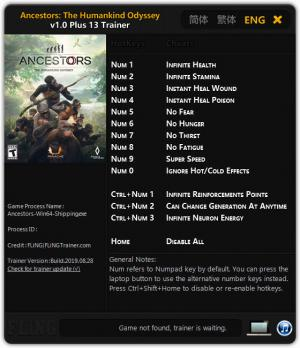 Ancestors: The Humankind Odyssey Trainer for PC game version v1.0