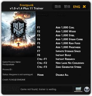 Frostpunk Trainer for PC game version  v1.4