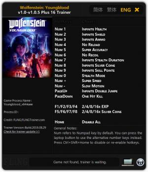 Wolfenstein: Youngblood Trainer for PC game version v1.0.5