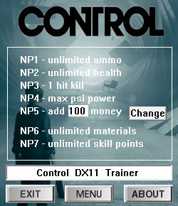 Control Trainer for PC game version v0.0.269