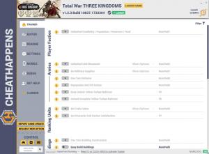 Total War: THREE KINGDOMS Trainer for PC game version v1.2.3 Build 10837.1733304