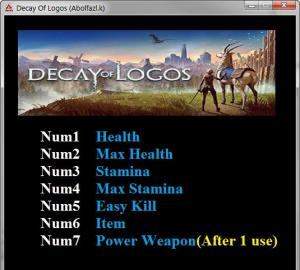 Decay of Logos Trainer for PC game version v1.0