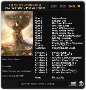 Sid Meier's Civilization 6 Trainer for PC game version v10.09.2019