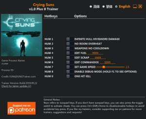 Crying Suns Trainer for PC game version v1.0 64 Bit