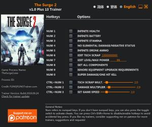 The Surge 2 Trainer for PC game version v1.0
