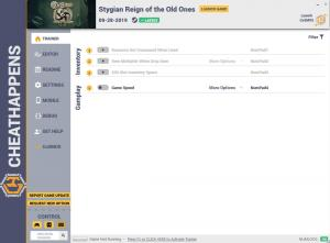 Stygian: Reign of the Old Ones Trainer for PC game version v1.0