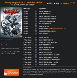 Divinity: Original Sin 2 Trainer for PC game version v3.6.49