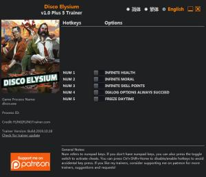Disco Elysium Trainer for PC game version v1.0