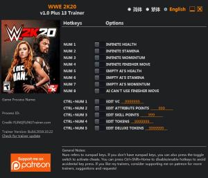 WWE 2K20 Trainer for PC game version v1.0