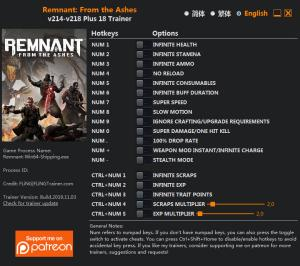 Remnant: From the Ashes  Trainer for PC game version v218