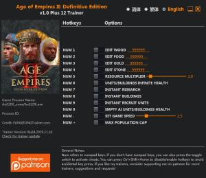 Age of Empires II: Definitive Edition Trainer for PC game version v1.0