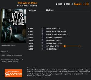 This War of Mine Trainer for PC game version 6.0.0