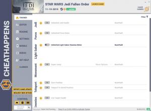 Star Wars Jedi: Fallen Order Trainer for PC game version v11.19.2019 HF